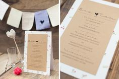 Wedding invitation with kraft paper and fabric hearts