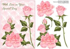 Pink Roses on Craftsuprint designed by Sheila Rodgers - A background of pale pink roses with main images of pink roses to decoupage. This card could be used for birthdays, engagement, wedding, anniversary, mothers day etc. - Now available for download!