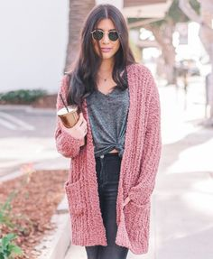 Red Bean Soft Open Front Cardigan