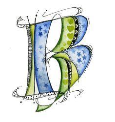 doodle letter B Doodle Lettering, Creative Lettering, Hand Lettering, Typography, Alphabet Art, Letter Art, Graffiti, Illuminated Letters, Art Plastique