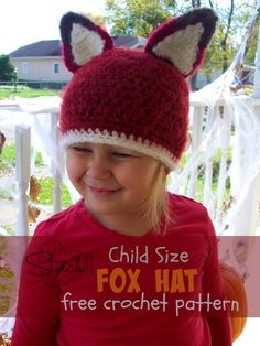 Child Size Fox Hat - Free Crochet Pattern