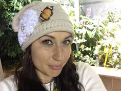 Tan Knit Slouch Beanie Winter Hat with White by theraggedyrose