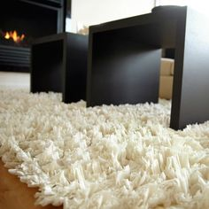 Creme Recycled Paper Shag Rug