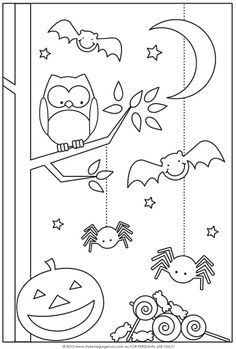 Fun Halloween Coloring Pages for Kids. They provide hours of at home fun for kids during the holiday season. Fun Halloween Coloring Pages for Kids. They provide hours of at home fun for kids during the holiday season. Theme Halloween, Halloween Crafts For Kids, Easy Halloween, Holidays Halloween, Fall Crafts, Halloween Decorations, Halloween Printable, Preschool Halloween, Halloween Games