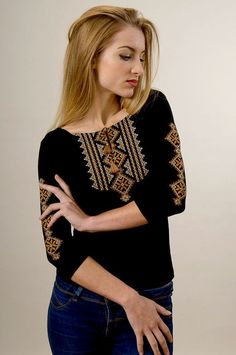"Women's 3/4 sleeve shirt with real embroidery ""Hutsul"""