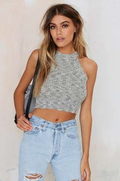 Smash Knit Ribbed Crop Top - Gray - What's New