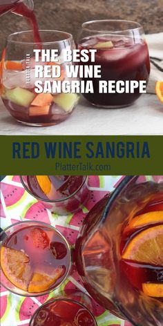 This homemade sangria recipe from Platter Talk uses inexpensive red wine and a few other common ingredients for a refreshing cool-down idea! Best Sangria Recipe, Red Sangria Recipes, Red Wine Sangria, Summer Sangria, Punch Recipes, Cocktail Recipes, Margarita Recipes, Homemade Sangria Recipe Easy, Summer Cocktails