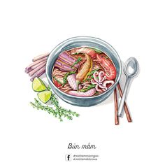 Bun Mam (Noodle with fish-sauce, shrimp.), some food of Southern East Vietnam Illustrated by Cute Food Art, Chibi Food, Food Sketch, Watercolor Food, Watercolor Paintings, Food Cartoon, Vietnamese Recipes, Vietnamese Food, Japon Illustration