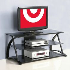 Target - Easy Assembly Glass TV Stand - Black - $130