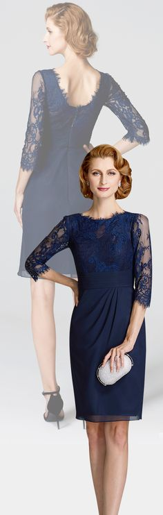 04c578b22128 Sheath   Column Jewel Neck Knee Length Chiffon   Lace Mother of the Bride  Dress with