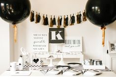 black, white and gold party for shutterfly #shutterflydecor