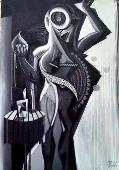 Artist : Pablo M. / Title : Mujer en Grises / Dimensions : 220 x 140 cms / Price : MXN $45,000 / Status : Sold / Technique : Mixed on Canvas / Year : 2015