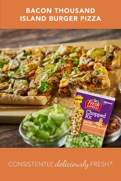 The new Fresh Express® Bacon Thousand Island Chopped Kit® it's so tasty and versatile, you can use it as a topping for a pizza! Try this recipe today! Thousand Islands, Bacon, Pizza, Fresh, Pork Belly