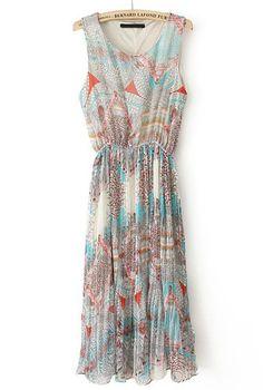 Light Blue Sleeveless Elastic Waist Print Pleated Dress