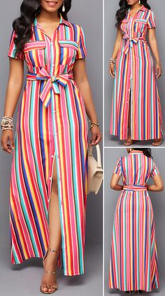 Button Up Turndown Collar Belted Maxi Dress – Christmas Fashion Trends Long African Dresses, Latest African Fashion Dresses, African Print Fashion, Women's Fashion Dresses, Cute Dress Outfits, Casual Dresses, Pretty Dresses, Beautiful Dresses, Beauty Buy