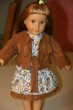 4 Piece Brown Faux Suede Western Outfit for 8 inch by NanasWeeTogs