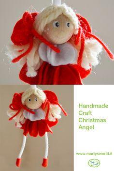 Angioletto di pannolenci bianco e rosso. #Christmas #diy #handmade #craft #heart #Angel #felt