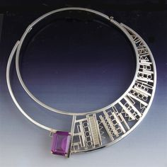 Sterling Silver asymmetrical choker with faceted oval shaped lab alexandrite: Signed and made by Aaron Rubinstein and Modern Art Jewelry.