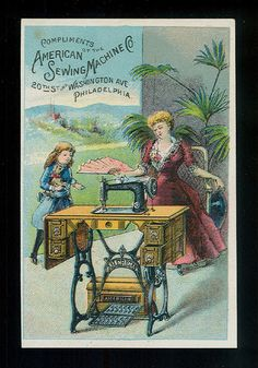 Mama & Daughter & New Sewing Machine-Victorian Trade  card American Sewing Machines