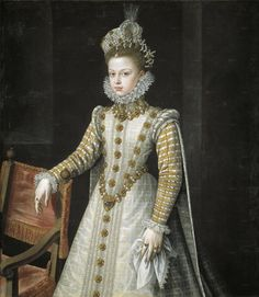 1579, Infanta Isabel Clara Eugenia by Alonso Sánchez Coello-I love everything about this gown and accoutrements.
