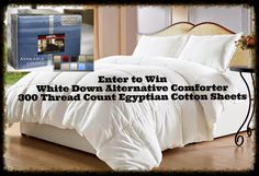 Inside My Head..: Egyptian Cotton Sheets & White Down Alternative Comforter ~ #Giveaway