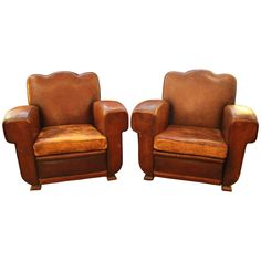 1930's French Art Deco Club Chairs