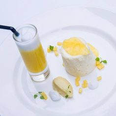 Pineapple mousse and carpaccio with coconut jelly and pina colada