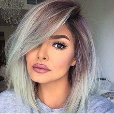 Beautiful natural makeup with grey ombre hair looks beautiful!!