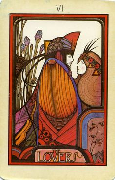 The Lovers tarot card - this style reminds me of stained glass. love the colours