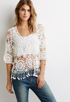 Discover thousands of images about Crochet top boho white lace hippie gipsy Sunflower Black Crochet Dress, Crochet Tunic, Crochet Clothes, Crochet Lace, Crochet Tops, Tops Boho, Hippie Tops, Moda Crochet, Festival Tops