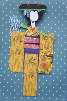 This is my collection of kimono paper dolls, each one is handcrafted and unique. Origami Paper Art, Origami Fish, Paper Quilling, Japanese Paper Art, Japanese Origami, Paper Dolls, Art Dolls, Doll Crafts, Paper Crafts