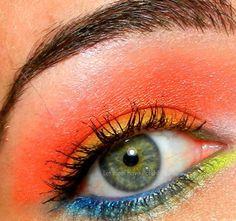 fashion, make-up, eyes, eyeshadow, orange, green, blue