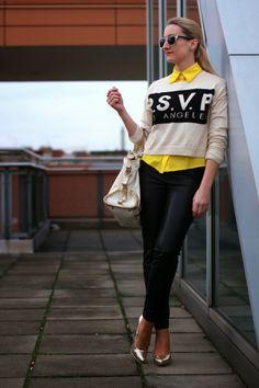 pants - Zara / blouse - C&A / sweater & shoes - Forever 21 / bag - Kesslord / sunglasses - Zalando / rings - LookbookStore, engagement ring / earrings - Majolie