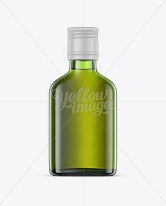 Green Glass Whiskey Bottle Mockup – Front View