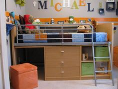 """The Smallest Room Ever! 9ft x 9ft Ha! that's typical in our house :) bed's from walmart """"loft bed""""  quilt & other accessories from target"""