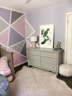 Home Decor // Geometric Accent Wall – Little Girl's Room – …love Maegan Girls Room Paint, Girls Room Wall Decor, Girl Bedroom Walls, Accent Wall Bedroom, Accent Walls, Bedroom Wall Decorations, Room Girls, Bedrooms, Bedroom Paint Design