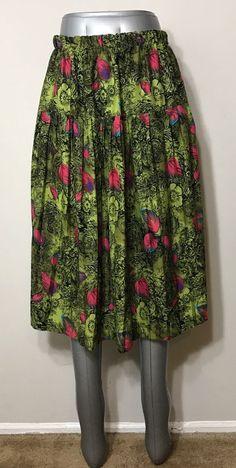 Floral Womens Size 16 Skirt Green Pink Black Boho Peasant Vintage VTG 80s  | eBay