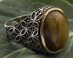 Sterling Silver Men Ring Handmade, Tiger Eye Stone,  Expres Shipping