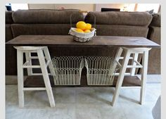 Great idea: two stools and stained lumber add baskets and you have a sofa table or a kitchen buffet!
