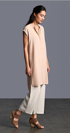 Speak softly with silk separates in muted peach and vanilla tones.