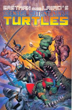 "ea5e95:      tmnt by Richard Corben (1990).    Originally they all had red bandanas. Seems they did the multi-color thing to make it ""more accessible"" to all demographics. Like all the team based shows in the 90's."