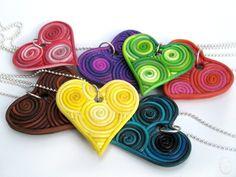 Custom Filigree Heart Polymer Clay Pendant. $30.00, via Etsy.