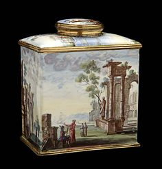 Tea Caddy, 1750-1780, Unidentified, enamel and gilded metal, 3 7/8 x 3 1/4 x 2 in. (10.0 x 8.4 x 5.1 cm), Smithsonian American Art Museum, Gift of John Gellatly, 1929.8.245.38