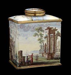 Tea Caddy, 1750-1780, Unidentified, enamel and gilded metal, 3 7/8 x 3 1/4 x 2 in. (10.0 x 8.4 x 5.1 cm), Smithsonian American Art Museum, Gift of John Gellatly, 1929.8.245.38