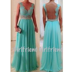Amazing lace floor-length halter prom dress from Girlfriend