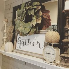 It will be a season of gathering in our home & I love that or mantel will act as a reminder.  A huge thanks to all who helped design this sign, by responding to my Insta story. I actually I'm thrilled with the way it turned out. So I give thanks for each of you. {Custom orders will be taken on this sign} . . #gather #givethanks #season #fall #autumn #harvest #gathering #reclaimedwood #vintage #vintagescale #pumpkins #fallmantel #falldecor #neutrals #wheat #magnoliawreath #magnolia