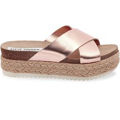Steve Madden Arran Slip On Sandals ($70) ❤ liked on Polyvore featuring shoes, sandals, rose gold, espadrille sandals, platform espadrilles, steve madden sandals, mid-heel shoes and fleece-lined shoes