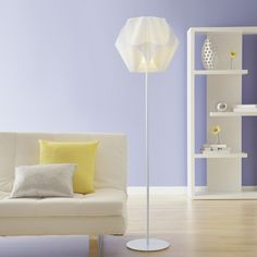 Shop Style Selections Gambrell 63.4-in White Standard Shaded Indoor Floor Lamp with Plastic Shade at Lowes.com