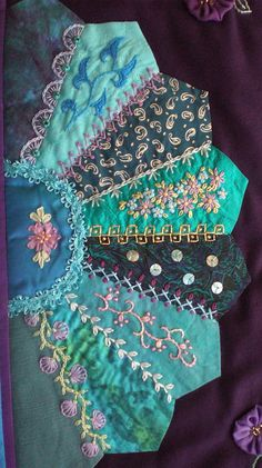 I ❤ crazy quilting & embroidery . 26 x 32 inches ~By marcie carrI ❤ crazy quilting & embroidery . 26 x 32 inches ~By marcie carr Crazy Quilting, Crazy Quilt Stitches, Crazy Quilt Blocks, Patchwork Quilting, Quilt Stitching, Paper Embroidery, Embroidery Stitches, Embroidery Designs, Textile Art