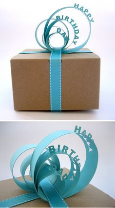 Dimensional Paper Cut Gift Toppers cute idea with construction paper and paper cutter ideas  wondering how to control the cut so it doesnt' goall the way through so you can fold up the letters???